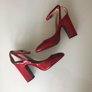 Zara Red Pump with Ankle Strap